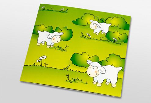 Schul- und Kindergartenmappe dreiteilig - geklebt - Schafe