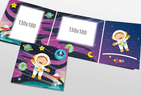Schul- und Kindergartenmappe dreiteilig - geklebt - Weltall-Abenteuer
