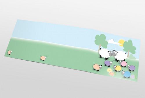 Schul- und Kindergartenmappe dreiteilig - geklebt - Schafsfamilie