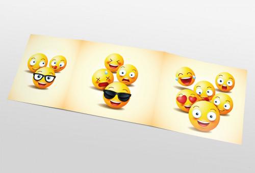 Schul- und Kindergartenmappe dreiteilig - geklebt - Smileys