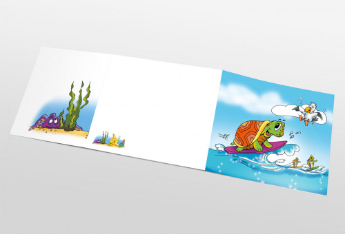 Schul- und Kindergartenmappe dreiteilig - geklebt - Surfer