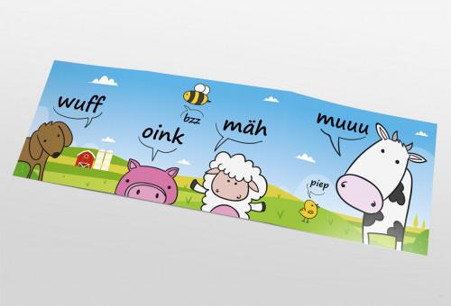 Schul- und Kindergartenmappe dreiteilig - geklebt - Tiersprache