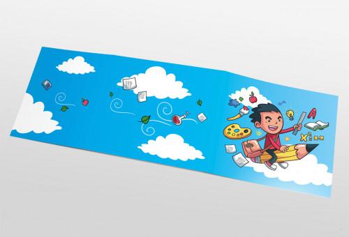Schul- und Kindergartenmappe dreiteilig - geklebt - Wolken-Schule